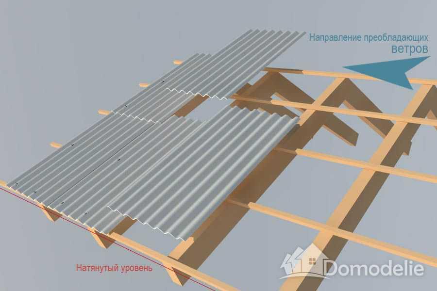 правильная укладка шифера на крышу с ветрами