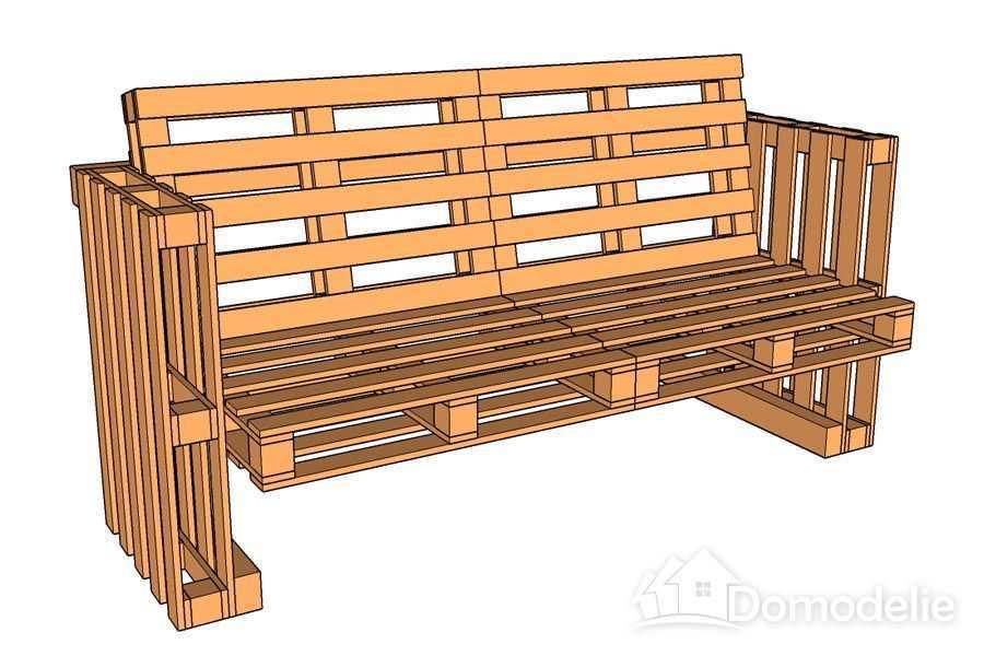 оригинальная скамья из поддонов