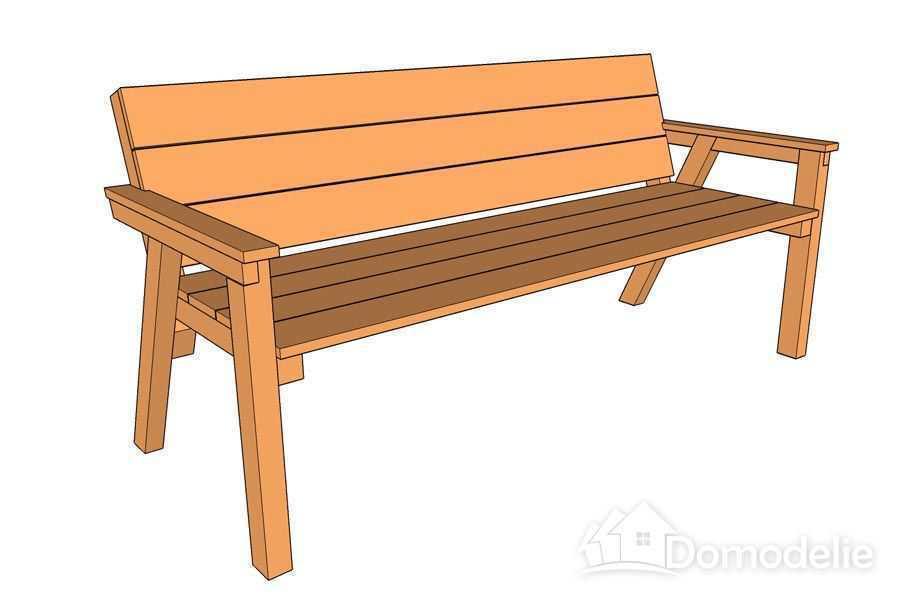 Простая скамейка из дерева  чертежи 81